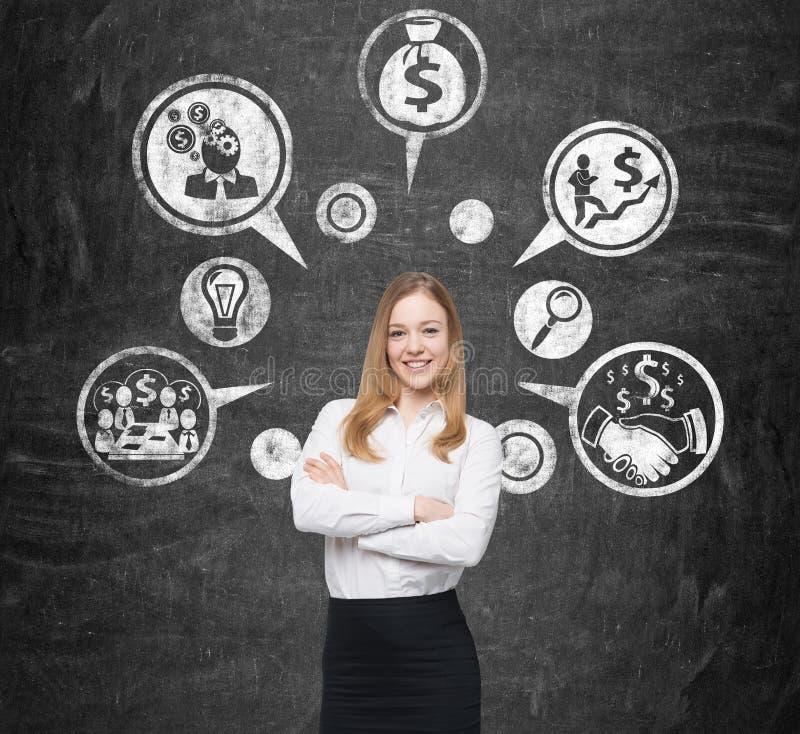 Le kvinnan och pengar skissa royaltyfria bilder