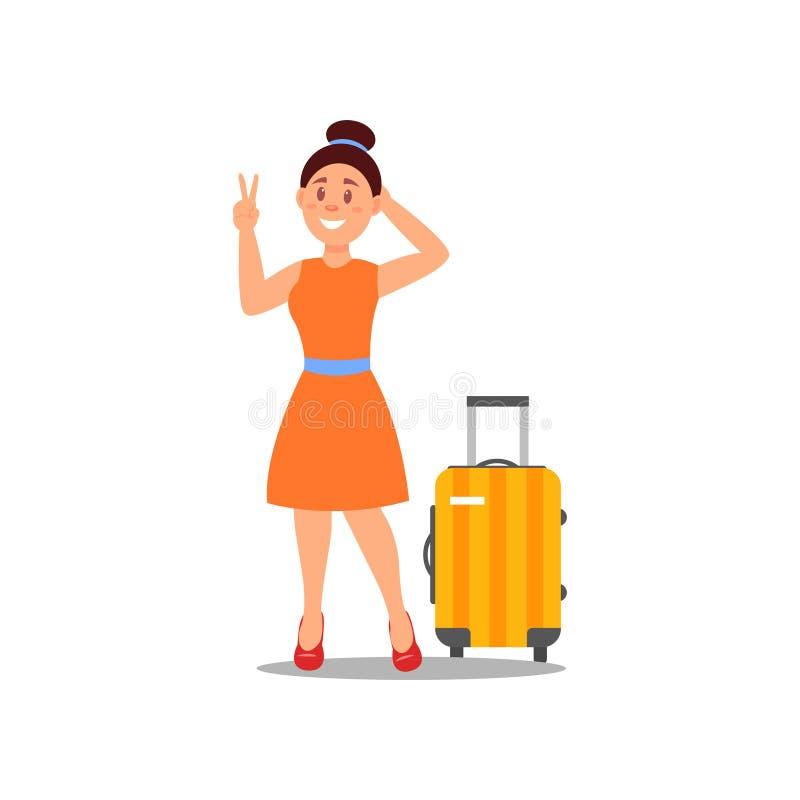 Le kvinnan som står den near resväskan och visar fred, göra en gest Lycklig turist- färgrik plan vektordesign vektor illustrationer