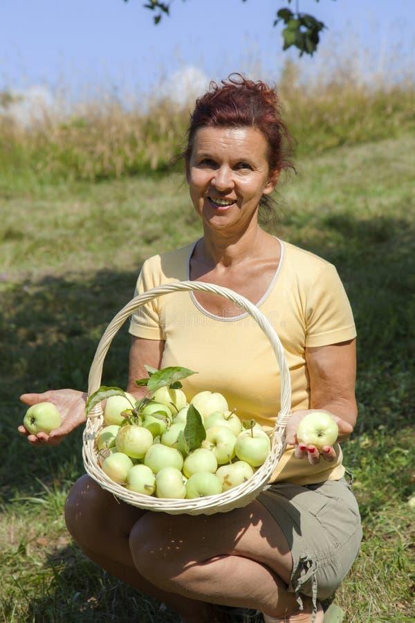 Le kvinnan som visar organiska äpplen royaltyfria foton