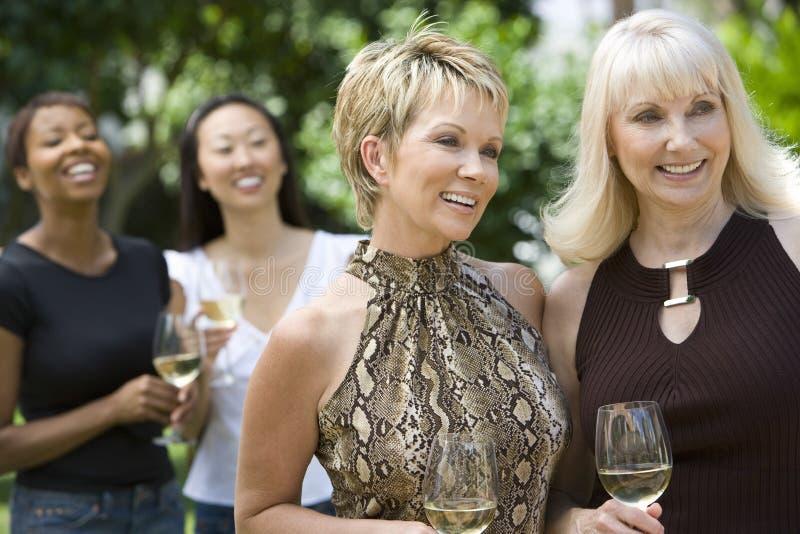 Le kvinnor som rymmer vinglas med vänner i bakgrund royaltyfri foto