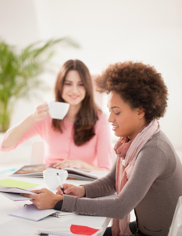 Le kvinnor som tillsammans studerar fotografering för bildbyråer