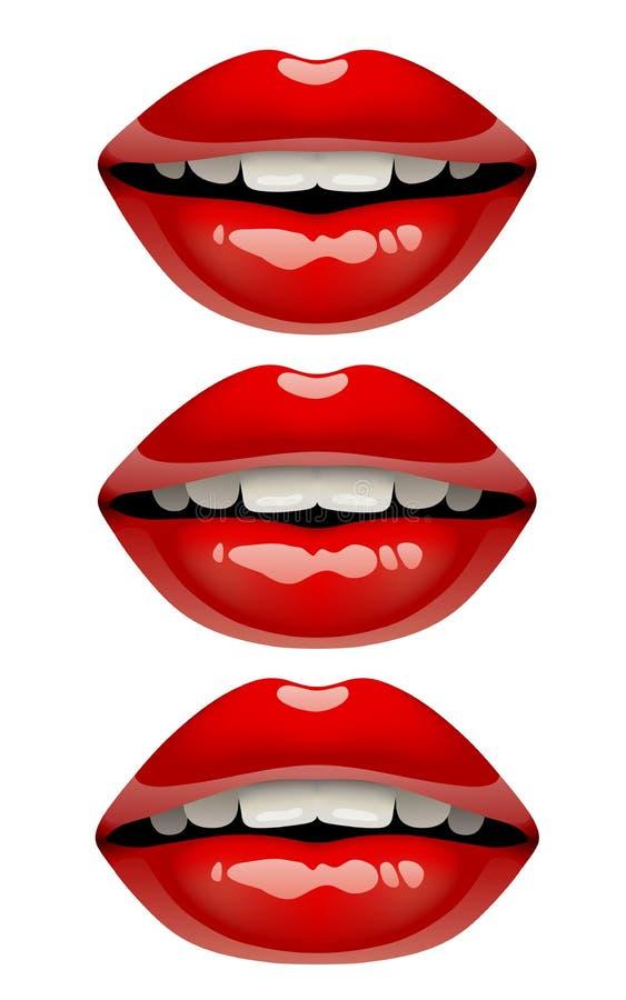 Le labbra del ` s della donna hanno messo con trucco lucido rosso del rossetto sul whi illustrazione di stock