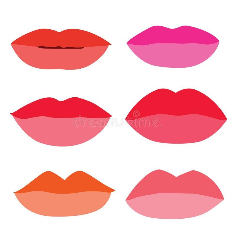 Le labbra della bocca si chiudono sulle tonalit? differenti variopinte alla moda isolate elemento della raccolta di progettazione illustrazione di stock