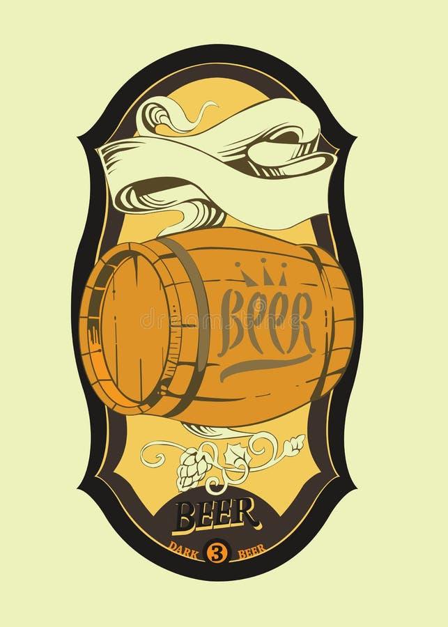 Le label de la bière avec le baril illustration stock