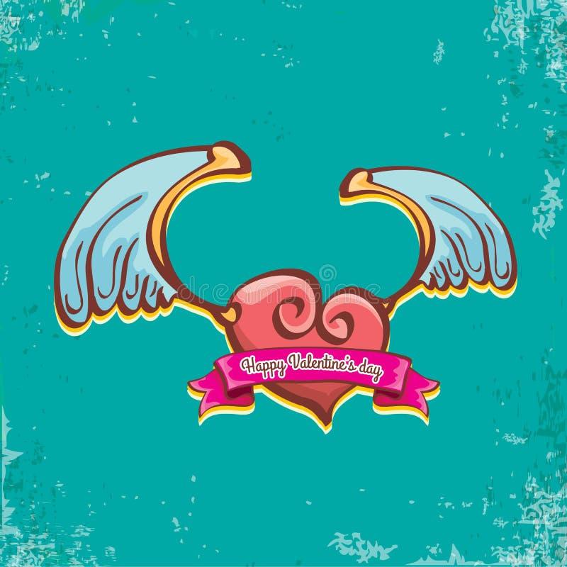 Le label rouge de coeur de style de tatouage de bande dessinée de vintage de jour de valentines de vecteur avec des ailes d'ange  illustration de vecteur
