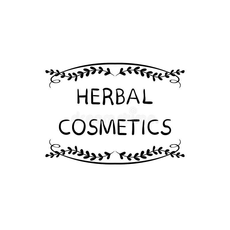 Le label tiré par la main de timbre d'emballage de VECTEUR de fines herbes de cosmétiques, gribouillent le cadre floral, lignes n illustration de vecteur