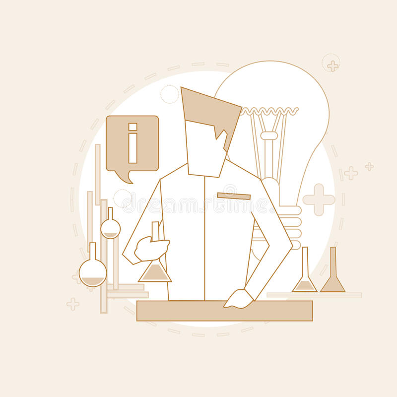 Le laboratoire de Working Research Chemical de scientifique amincissent la ligne illustration libre de droits