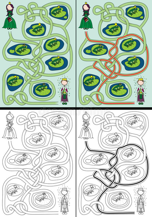 Le labyrinthe de prince de grenouille illustration de vecteur