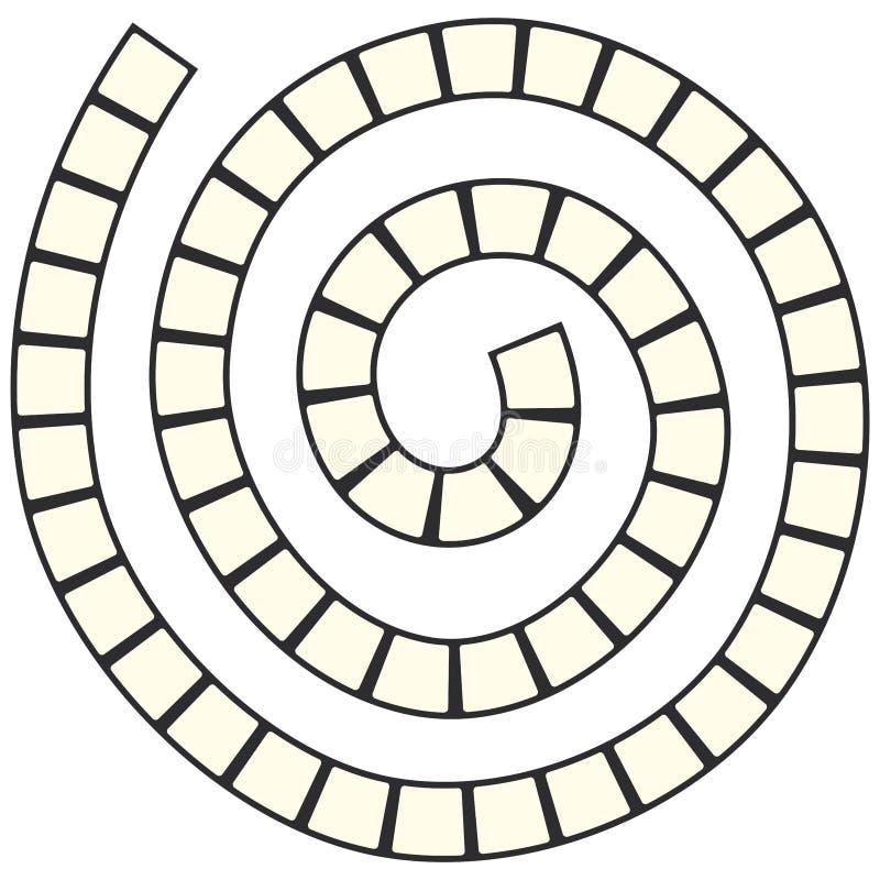Le labyrinthe en spirale futuriste abstrait, calibre de modèle pour des jeux du ` s d'enfants, ajuste la découpe noire d'isolemen illustration stock