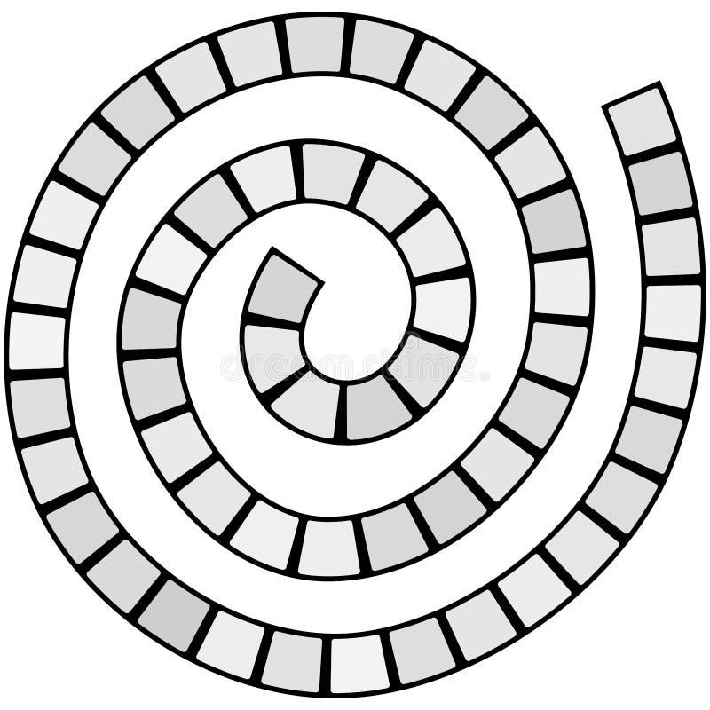 Le labyrinthe en spirale futuriste abstrait, calibre de modèle pour des jeux du ` s d'enfants, gris ajuste la découpe noire d'iso illustration stock
