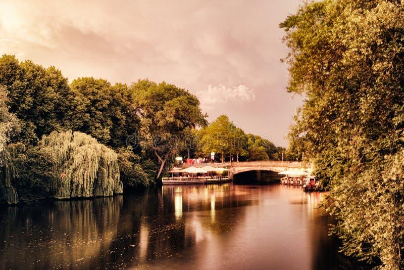 Le lac Alster dans les personnes célèbres de parc de ville d'arbres romantiques mystiques de Hambourg Allemagne ramant le ciel de photographie stock
