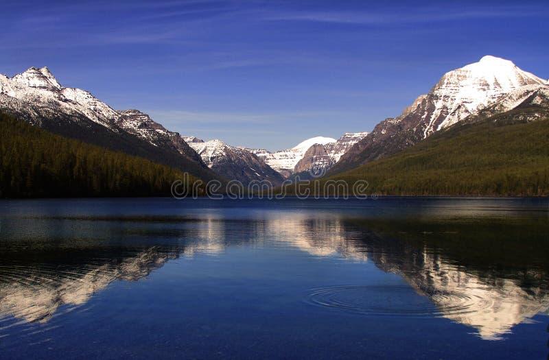 Le lac bowman en parc national de glacier reflétant la neige environnante a couvert des montagnes image stock