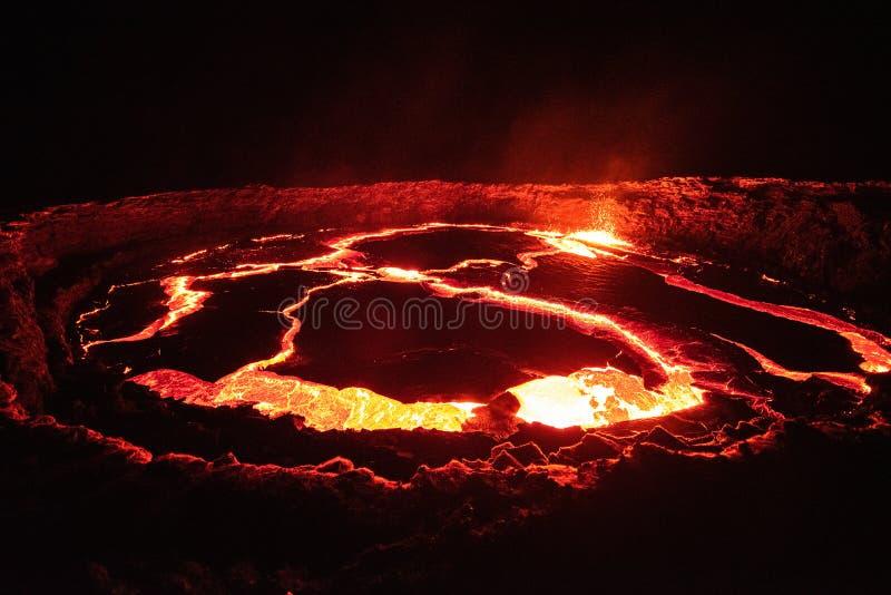 Le lac de lave d'Erta Ale image libre de droits