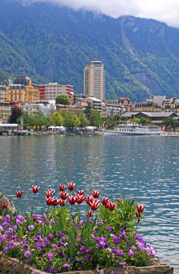 Le Lac Léman et vue de Montreux, Suisse images libres de droits