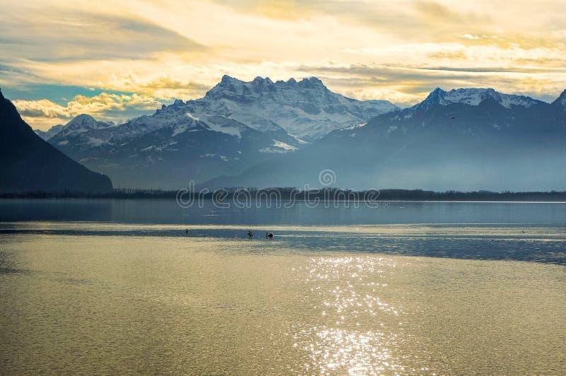 Le lac Leman, Suisse image libre de droits