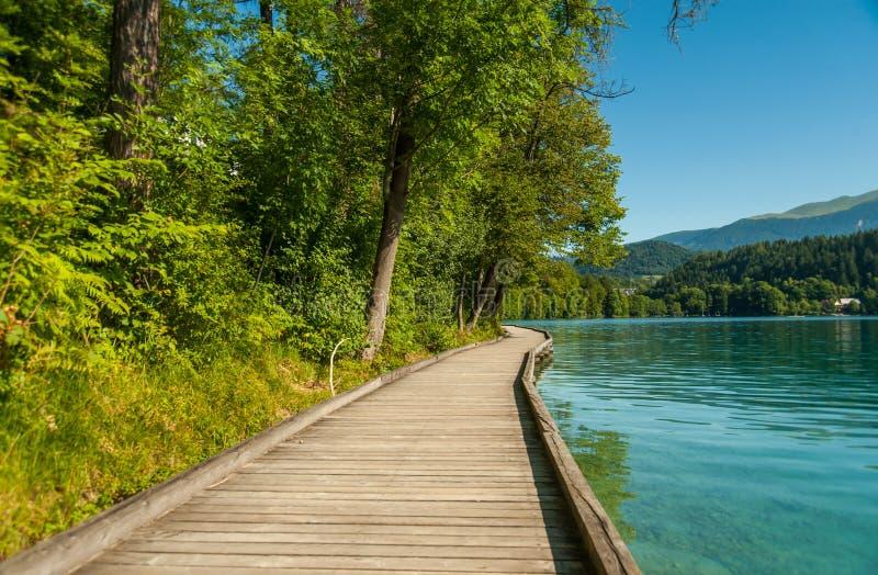 Le lac a saigné le chemin, Slovénie photo stock