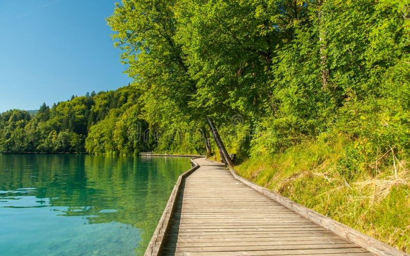 Le lac a saigné le chemin, Slovénie image stock
