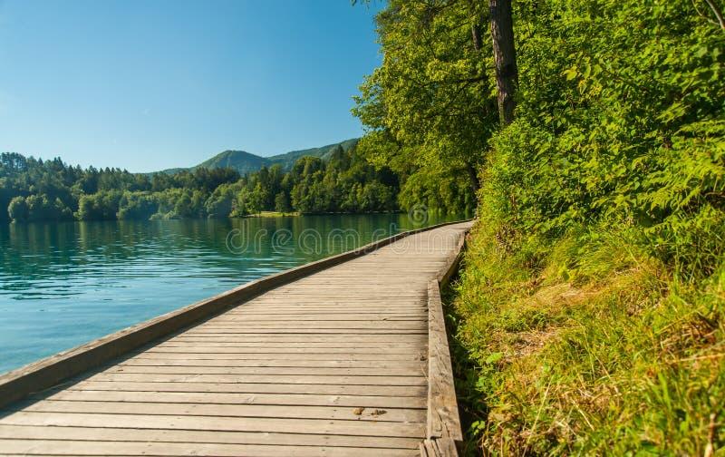 Le lac a saigné le chemin, Slovénie photographie stock libre de droits