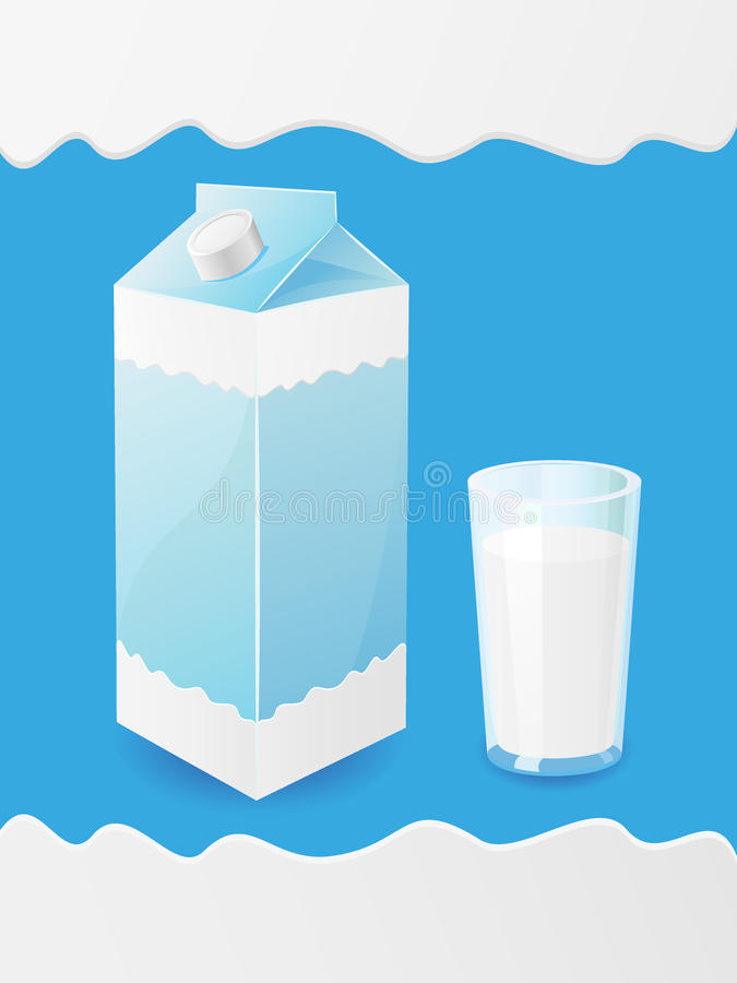 Le lait est dans un module et une glace illustration stock