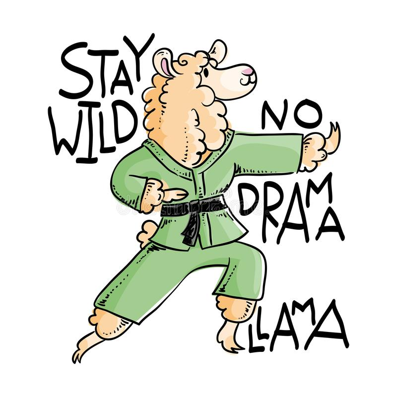 Le lama de karaté dans le kimono, dirigent l'illustration mignonne Séjour sauvage, aucun drame illustration stock