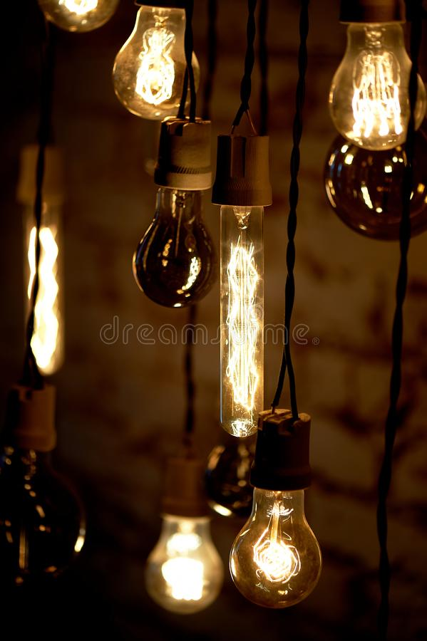 Le lampadine Erickson hanno sospeso con le cellule con l'uccello della decorazione Luce calda gialla della lampada immagini stock libere da diritti