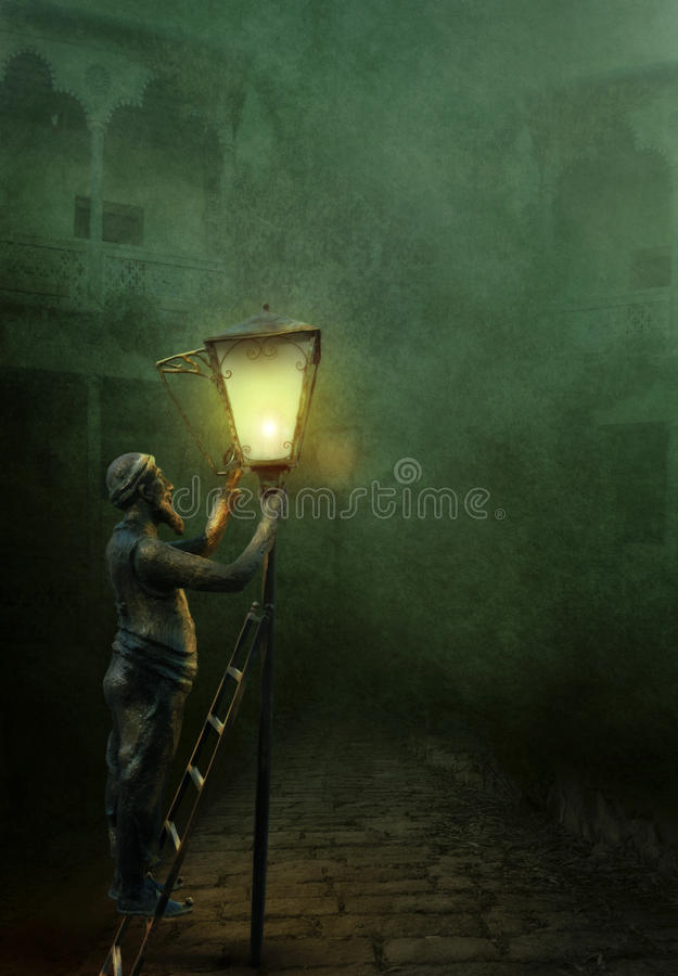 Le lamplighter illustration stock