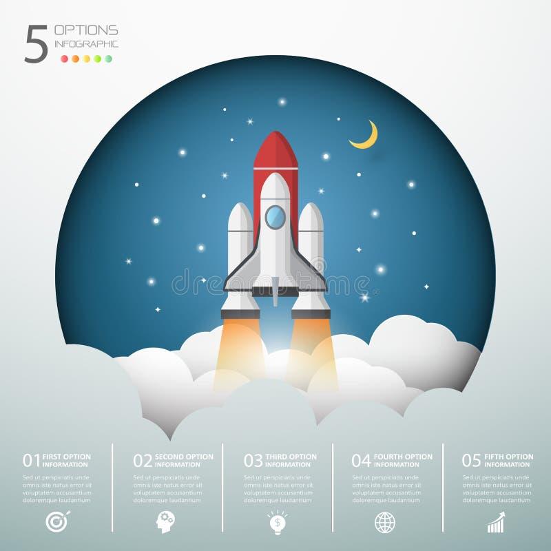 Le lancement de fusée de conception au ciel, commencent le concept d'affaires illustration libre de droits