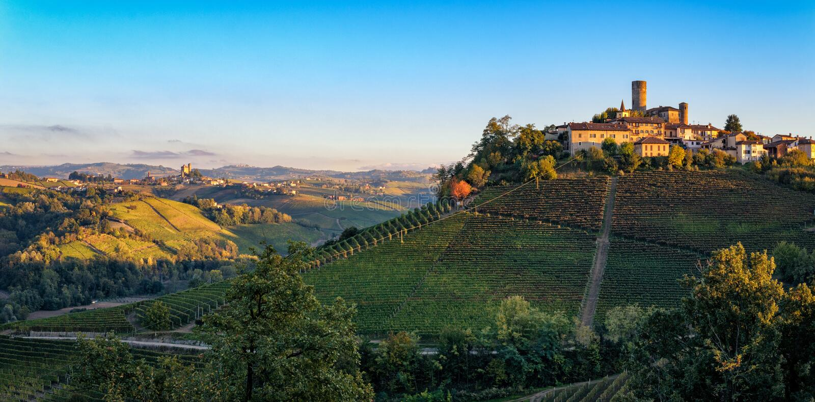 Le Langhe, Castiglione Falletto. And Serralunga d Alba stock photo