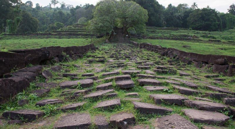 Le Laotien de temple de Wat Phou Khmer images stock