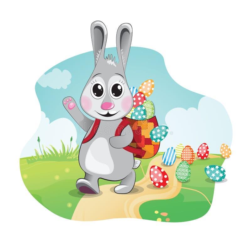Le lapin de Pâques apporte les oeufs colorés Illustration de vecteur photo libre de droits