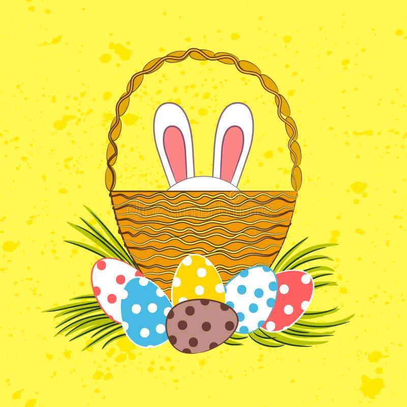 Le lapin de Pâques se cache dans le panier illustration stock