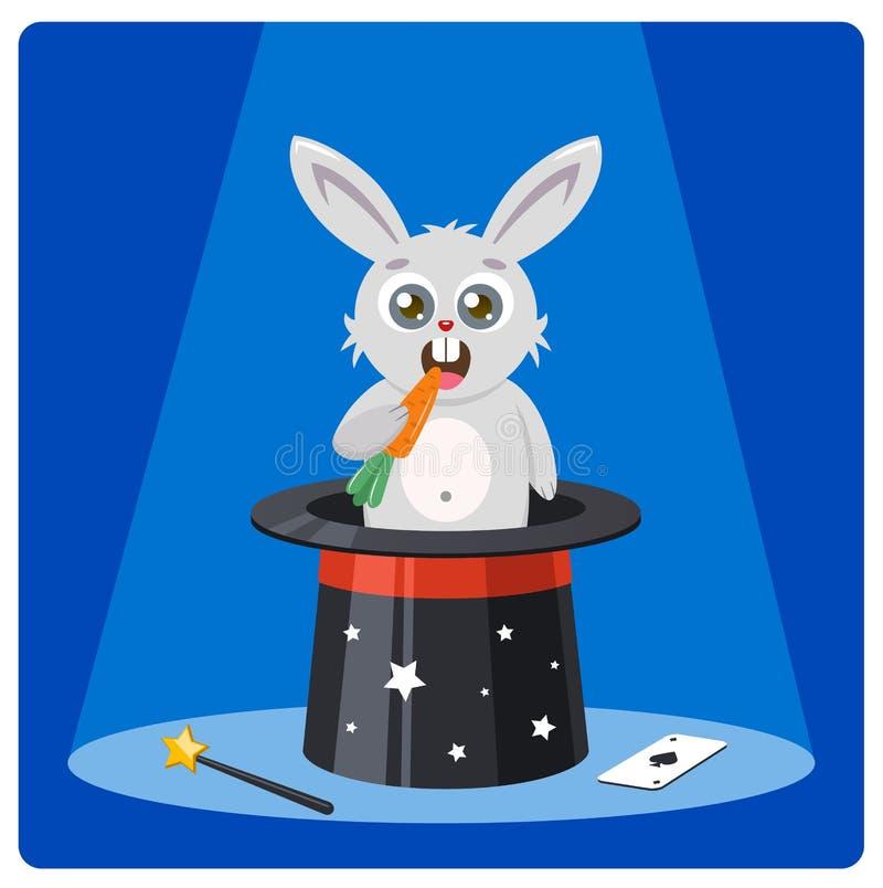 Le lapin mignon dans un chapeau magique ronge des carottes E affiche de couleur avec le caractère de lièvres et le chapeau supéri illustration libre de droits