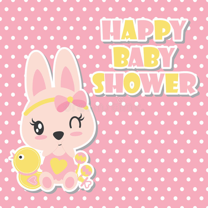 Le lapin mignon de bébé cligne de l'oeil sur l'illustration de bande dessinée de fond de point de polka pour le design de carte d illustration stock