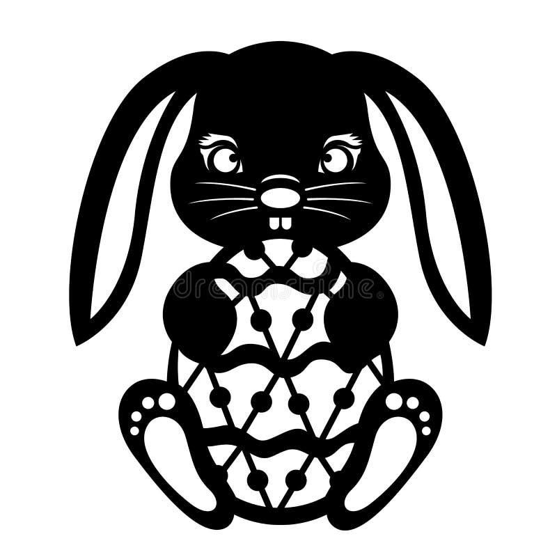 Le lapin noir tenant le papier d'oeuf de pâques a coupé la conception de vecteur illustration de vecteur
