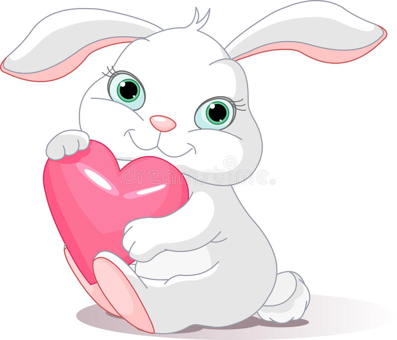 Le lapin retient le coeur d'amour illustration stock