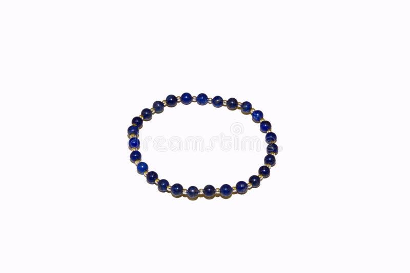 Le lapis lazuli perlent le bracelet en pierre naturel image stock