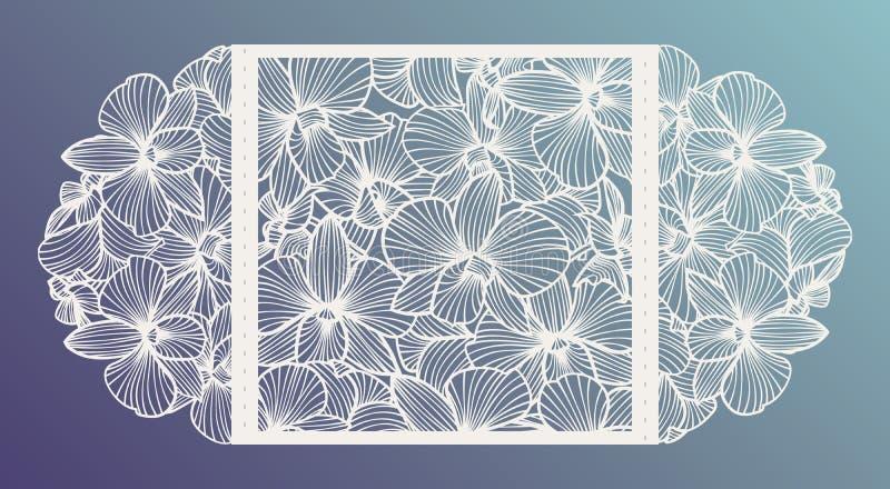 Le laser a coupé l'invitation de mariage de vecteur avec des fleurs d'orchidée pour le panneau décoratif illustration libre de droits
