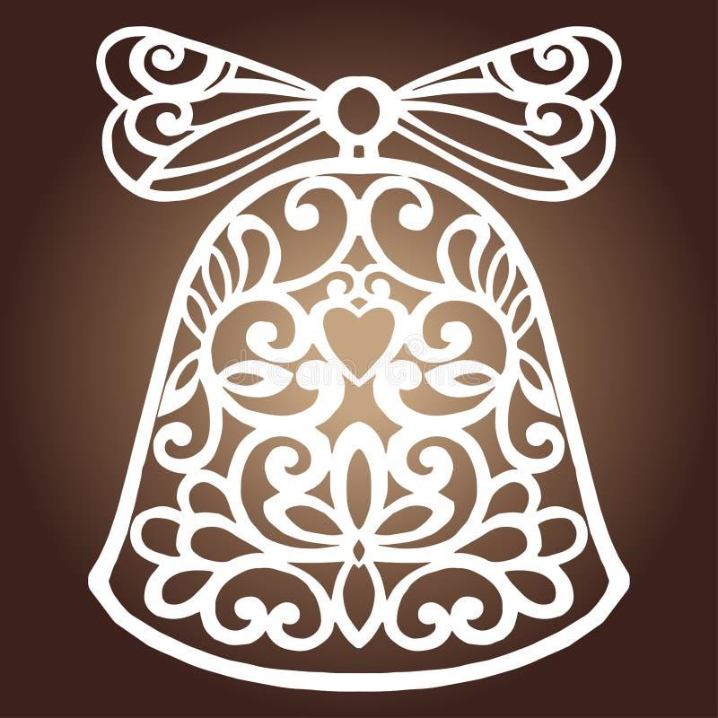 Le laser a coupé la conception de papier de vecteur de décoration de cloche de Noël Carte de voeux de Joyeux Noël Cloche de Noël  illustration de vecteur