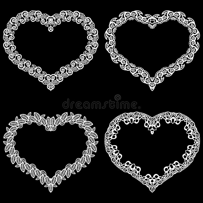 Le laser a coupé le cadre sous forme de coeur avec la frontière de dentelle Un ensemble des bases pour le napperon de papier pour illustration stock