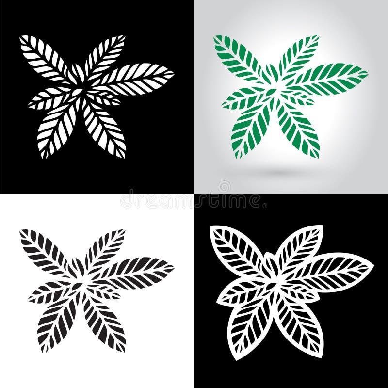Le laser a coupé le logo de feuille, icône de feuilles de papier de coupe-circuit illustration libre de droits