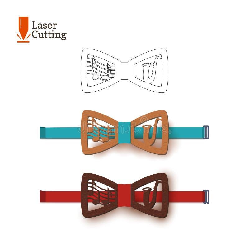 Le laser a coupé le thème musical de calibre de noeud papillon, la musique de feuille et le saxophone de jazz Dirigez la silhouet illustration stock