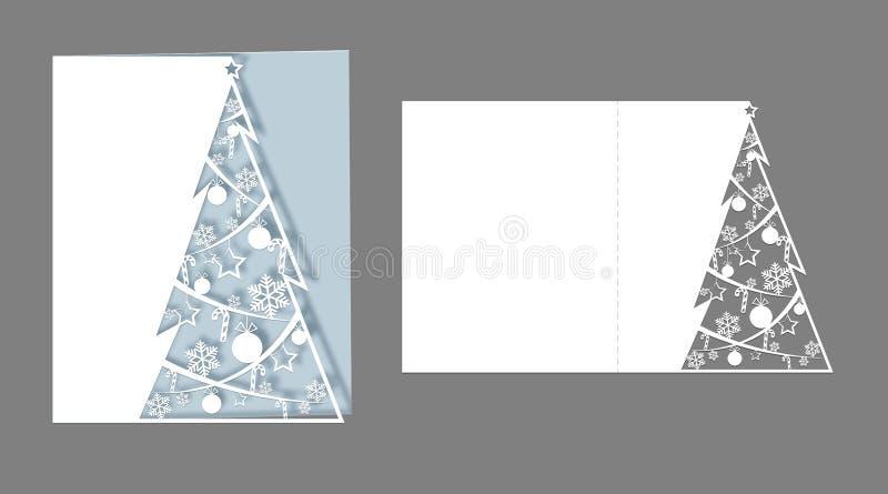 Le laser de disposition a coupé pour l'arbre à jour de sapin de Noël de cartes de Noël coupé du papier pour des cartes de voeux d illustration libre de droits