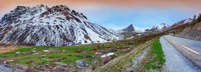 Le Lautaret Pass的全景 库存照片
