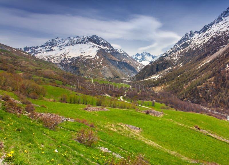 从Le Lautaret Pass, Ecrins,法国的看法 免版税图库摄影