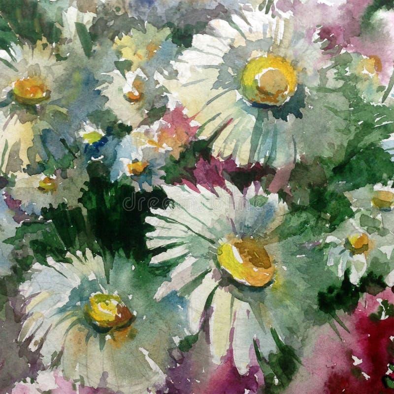 Le lavage humide d'éclaboussure de fond d'art d'aquarelle de camomille de pré texturisé vibrant frais créatif de fleurs a brouill illustration libre de droits