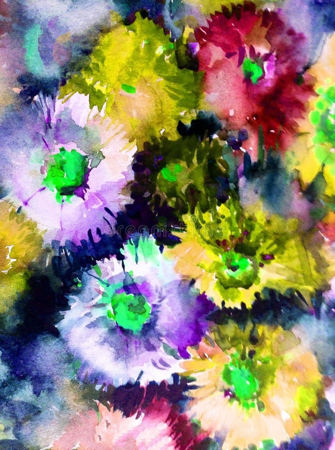 Le lavage humide d'aster de fond d'abrégé sur art d'aquarelle de fleurs sauvages de fleur de texture florale de branche a brouill illustration de vecteur