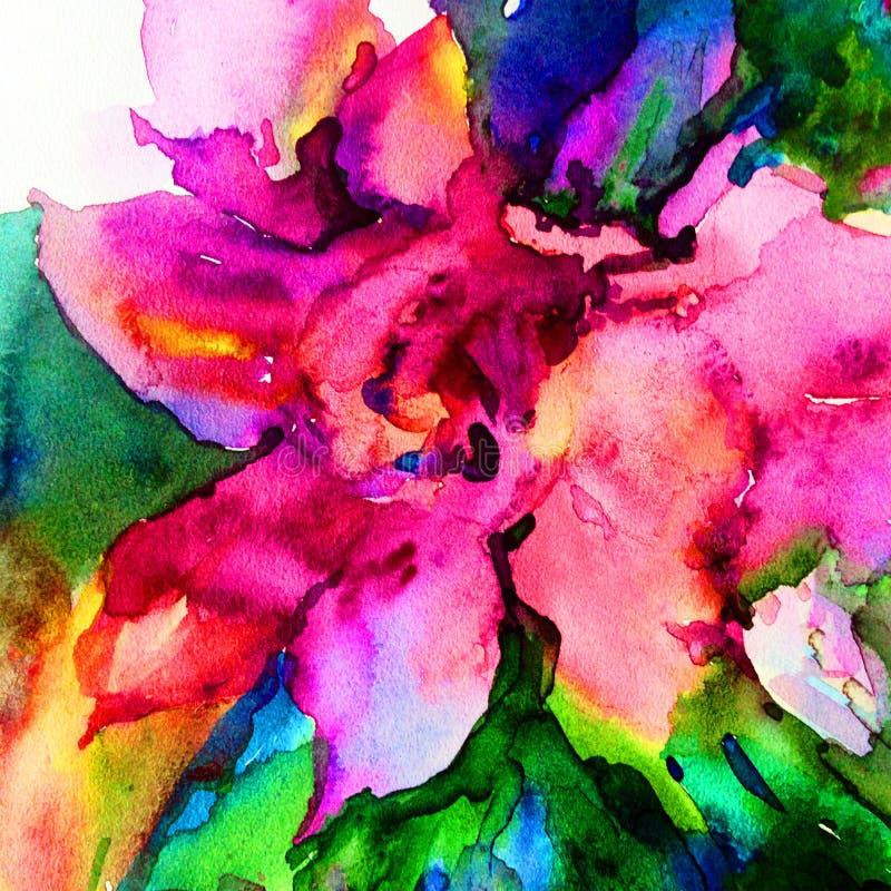 Le lavage humide de texture exotique florale de fleur de fond d'abrégé sur art d'aquarelle a brouillé l'imagination illustration libre de droits