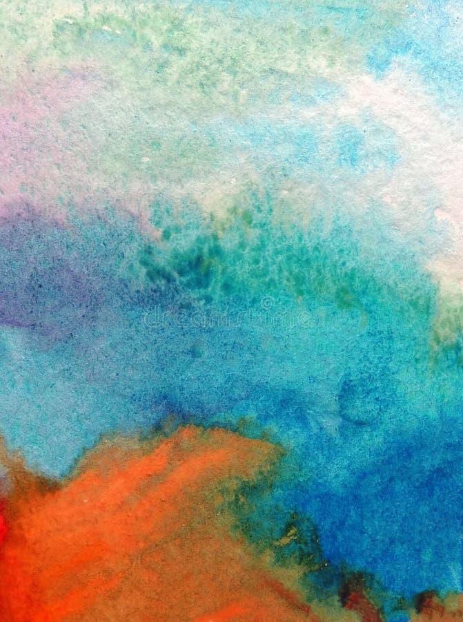 Le lavage humide texturisé vibrant d'éclaboussure fraîche créative de fond d'art d'aquarelle a brouillé des nuages de ciel d'imag illustration stock