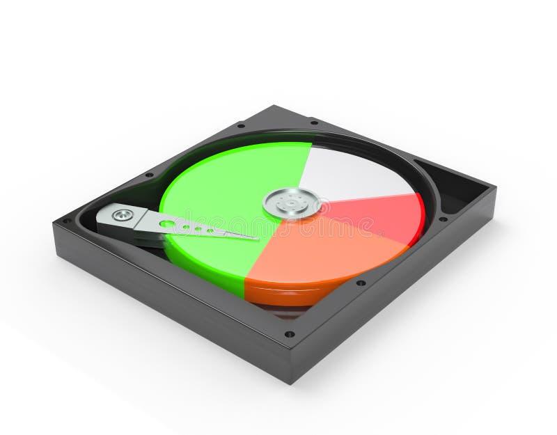 Le lecteur de disque dur à l'intérieur avec gratuit et les données diagram l'illustration 3d illustration libre de droits