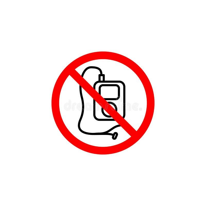 Le lecteur mp3 interdit, icône de musique peut être employé pour le Web, logo, l'appli mobile, UI UX illustration de vecteur